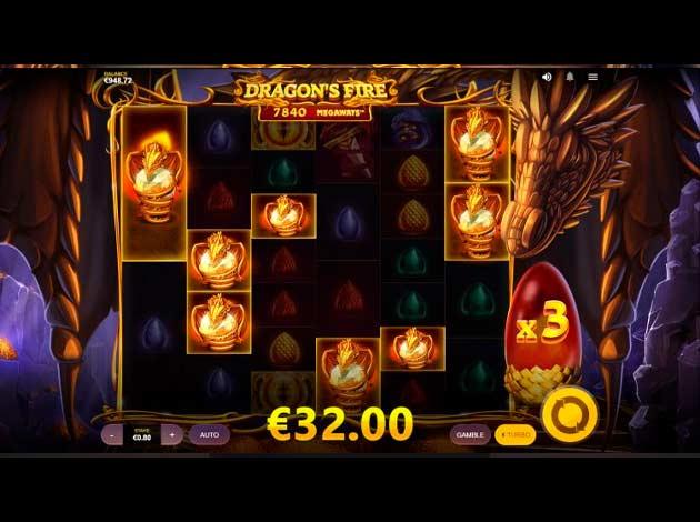 ตัวอย่างเกมสล็อต Dragon's Fire